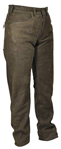 La Chasse Strapazier-Lederhose aus Büffelleder für Damen und Herren Trachtenhose Büffellederhose Jagdlederhose (48, Braun)