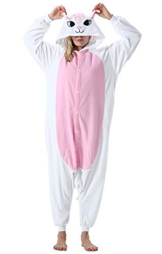 Jumpsuit Onesie Tier Karton Fasching Halloween Kostüm Lounge Sleepsuit Cosplay Overall Pyjama Schlafanzug Erwachsene Unisex Weiß Katze for Höhe 140-187CM