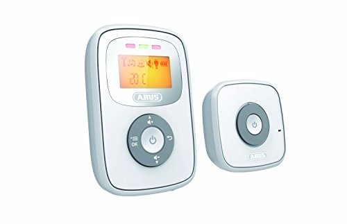 ABUS Babyphone Tom mit Temperatur-Sensor | beleuchtetes Display | 300m Reichweite | schnurlos | Akku | weiß | 73126
