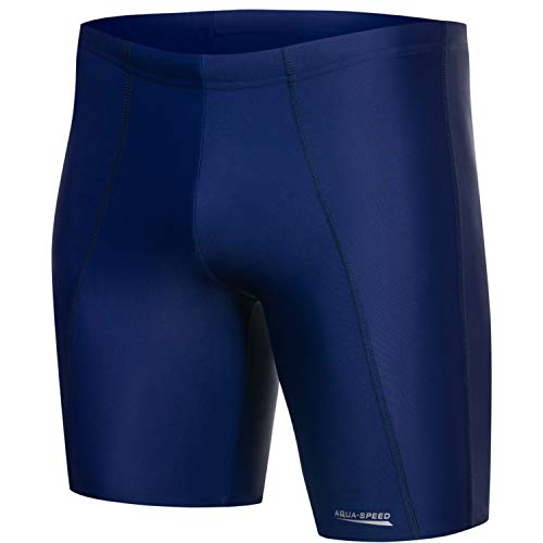 Aqua Speed Boxer Badehose eng für Herren Jungen | Wettkampf knielange Schwimmhosen Jungs | Jammer Swimsuit Männer I Mens Swimwear Sport | Badepants UV | Wassersport I Long, Gr. M, Night