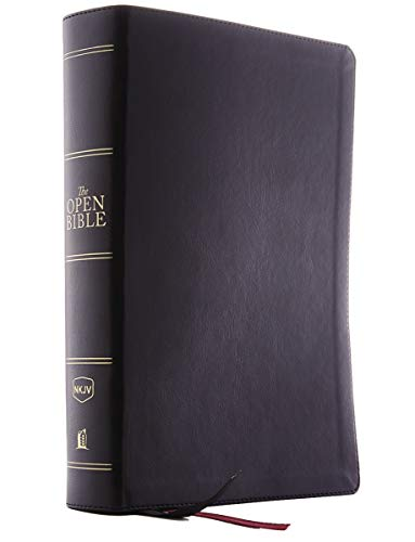 The NKJV, Open Bible, Leathersoft, Black, Red Letter Edition, Comfort Print: Complete Reference System [Idioma Inglés]