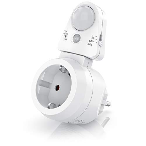 CSL - Steckdosen Bewegungsmelder mit Timer - Zeitschaltuhr digital – Lichtsensor 3, 600, 1200 Lux – PIR Infrarotsensor Bewegungssensor – Sensoreinheit 180° drehbar - 1, 5, 10 Minuten - 10A, 2300 W