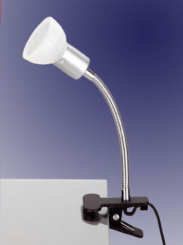 Trango 2989-016 LED Klemmleuchte, Tischleuchte, Leseleuchte, Clip Lampe mit weißem Glas Lampenschirm incl. 1x warmweiß GU10 LED Leuchtmittel 3 Watt ideal Nageldesign, Nagelstudio, Kosmetikstudio