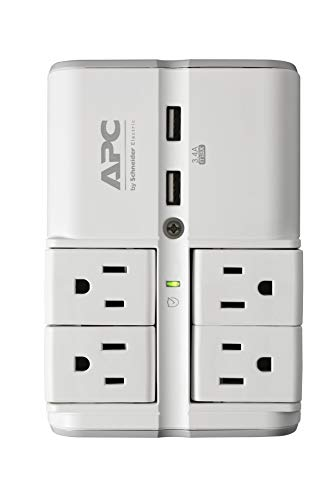 APC Wall Outlet Surge Protector with USB Ports, PE4WRU3, (4) Rotating Multi Plug Outlet, 1080 Joule Surge Protection