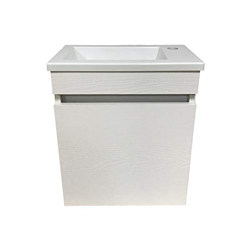 STARBATH PLUS Conjunto Mueble Baño Suspendido 40 x 22 cm Blanco Madera Lavabo Plástico ABS Ador