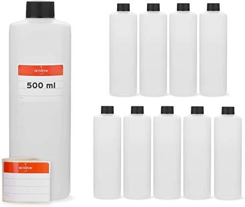 Botellas de plástico de 10 x 500 ml, botellas de plástico de HDPE, botellas redondas con tapas roscadas o tapas roscadas negras, botellas vacías con un tamaño de rosca de 25 mm, incl. etiquetas