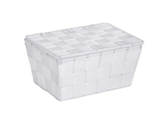 WENKO Aufbewahrungskorb mit Deckel Adria Weiß - Badkorb, Polypropylen, 19 x 10 x 14 cm, Weiß