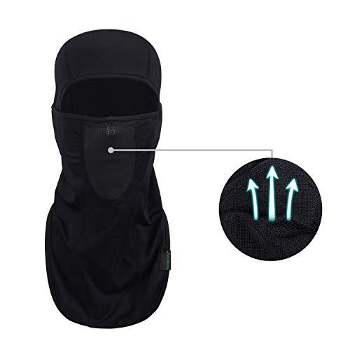 LONGLONG Sturmhaube - Sonnenschutzmaske Winddicht, staubdicht und atmungsaktiv für den Sommer, Vollgesichtsschutz für Radfahren, Wandern, Motorrad, schwarz, One Size