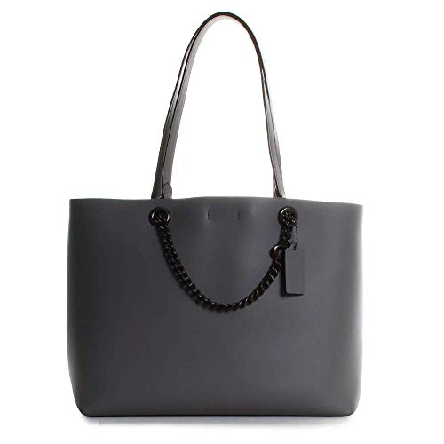 COACH Signature Chain Convertible Tote Heather Grey/Pewter One Size