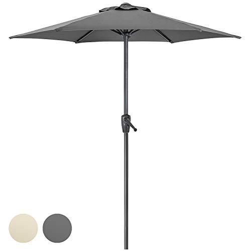 CHRISTOW Garden Parasol Umbrella 2m, Steel Patio Sun Shade With Crank Handle, Compact For Small Outdoor Spaces, Grey, Cream