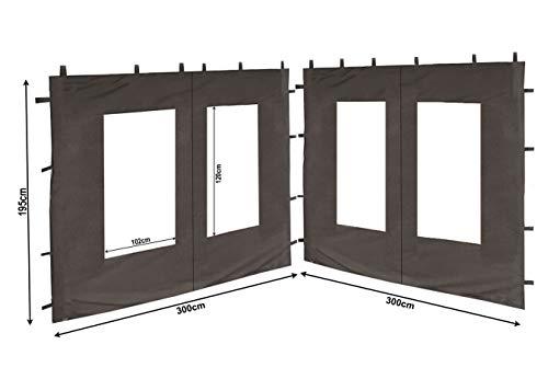 QUICK STAR 2 Seitenteile aus PE mit Fenster 300x195cm für Pavillon 3x3m Seitenwand Anthrazit RAL 7012