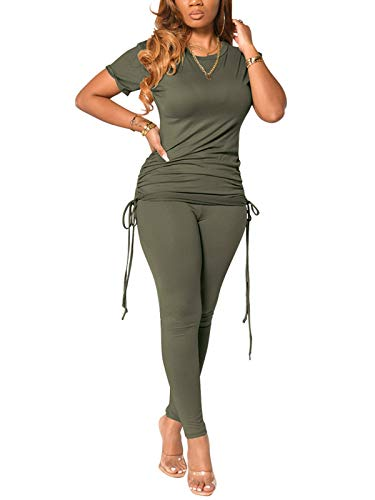 Women's Two-Pieces Tracksuit Slim Fit Sports Tee Tops Elastic Waist Legging Bodycon Loungewear Sets ArmyGreen L