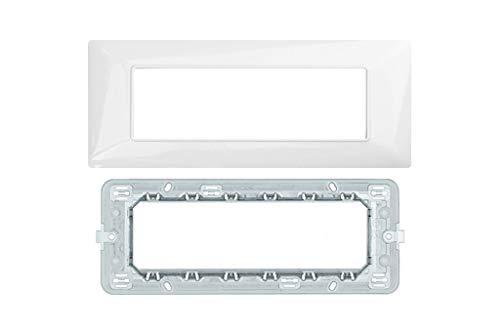 LineteckLED -Serie Completa di Placche per Interruttori Prese- Kit Placca 6 Posti 6M Compatibile matix + Supporto 6 Posti Compatibile matix (BIANCA)