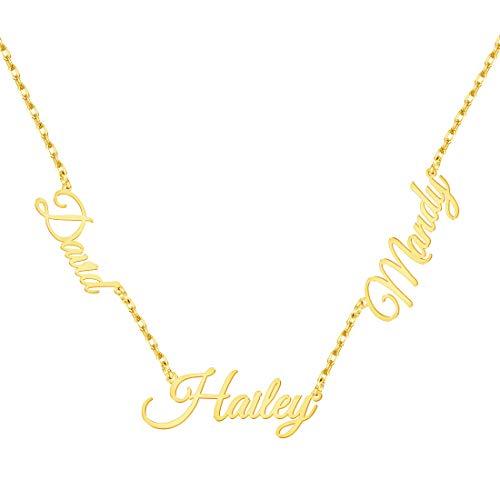 MissChic Namenskette, Kette mit 2-3 Namen, S925 Silber/Rosegoldet/Vergoldet Personalisierte Choker Kette für Freuen, Herren, Freundin, Mutter, Schwester