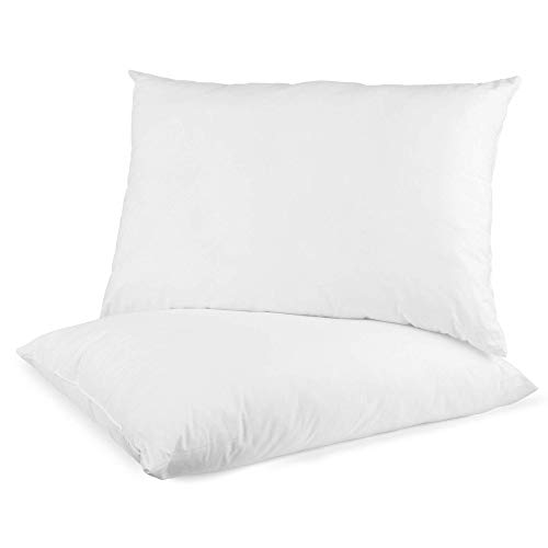 Digital Decor Set of 2 100% Cotton Hotel Pillows - Made in USA Hypoallergenic Pillows with Down Alternative Fiber Fill for Side & Back Sleepers - Three Comfort Levels - (Standard, Gold/Medium)