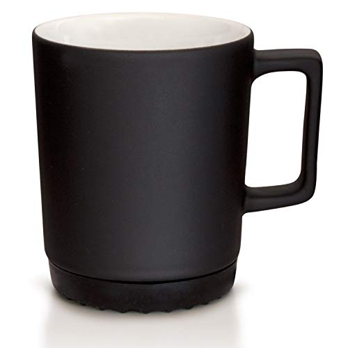Mahlwerck Softpad Tasse Schwarz mit SoftTouch, Große Porzellan-Kaffeetasse in matt Schwarz mit schwarzen SoftPad, 350 ml
