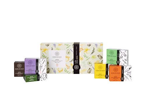 Écrin De Fleur – Set de Regalo de Pastillas de Jabón Hechas a Mano – Pack de 6 (Limón, Menta, Zanahoria, Aguacate, Chocolate, Lavanda) Surtidos, Bello y Elegante, Ecológico