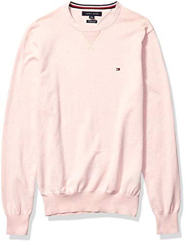 Tommy Hilfiger Men's Solid Crewneck Sweater, Blossom/Bright White, LG
