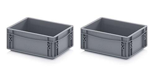Preisvergleich Produktbild 2x Eurobehälter 30 x 20 x 12 grau inkl. gratis Zollstock 2er Set