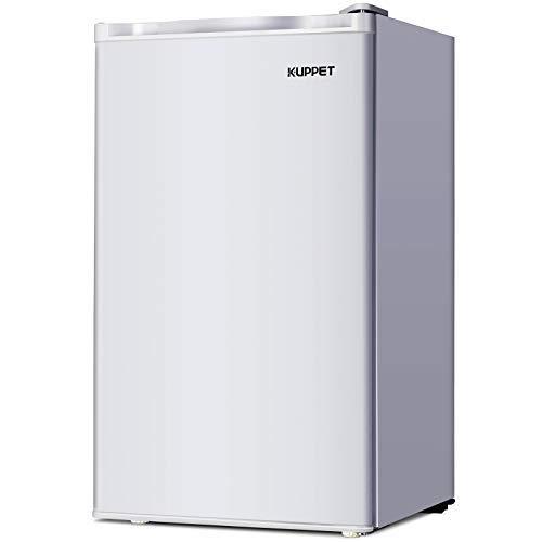 Single Door Mini Fridge, Mini Refrigerator Compact Refrigerator-Small Drink Food Storage Machine for Dorm, Garage, Camper, Basement or Office, 3.2 Cu.Ft, Stainless Steel