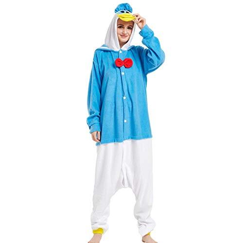 FZH Pijama Animal Adulto Gris Kigurumi hipopótamo Pijama Caballo de Dibujos Animados Fiesta Familiar Halloween Onesies Disfraces Ropa de Dormir con Capucha-Pato Donald_S