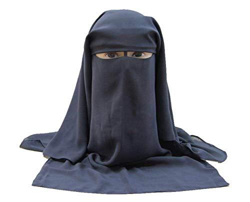 Niqab Islámico Tradicional Gris Claro para Mujeres