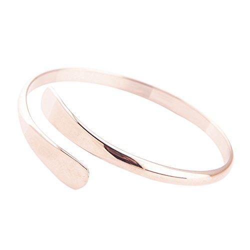 MSYOU Offenes Armband, einfacher Kupfer-Armreif, Charm-Armband für Damen und Mädchen, Armreif, Schmuck, Geschenk für Thanksgiving, Weihnachten, Abschluss, silberfarben