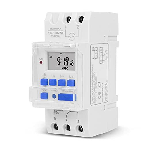 ASFD 16A Electrónico Semanal 7 Días Temporizador Digital Programable Interruptor de Tiempo Relé Blanco