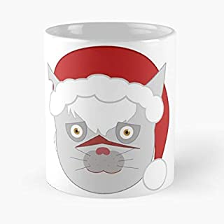 Merry Catmas Classic Mug - The Funny Coffee Mugs For Halloween, Holiday, Christmas Party Decoration 11 Ounce White Laqued.