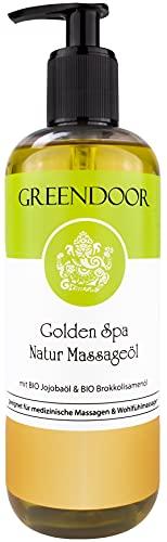 500ml Sparpackung Greendoor Massageöl Golden SPA, natur-reines BIO Jojobaöl und Aprikosenkernöl, Öl für natürliche Massage, entspannender Duft, hervorragendes Körperöl, Geschenke