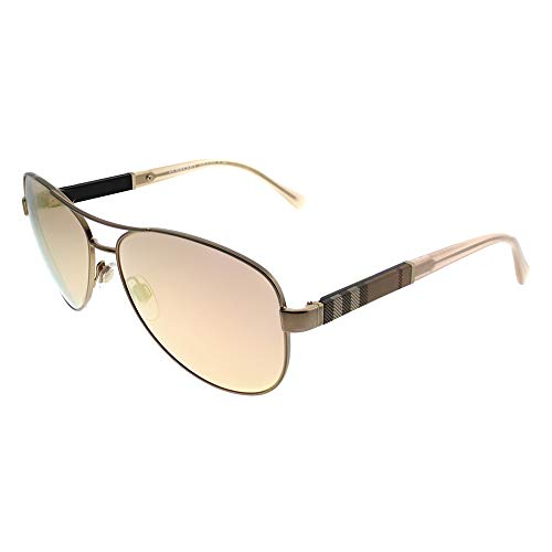 Burberry Women's BE3080 Sunglasses Matte Gold/Brown Mirror Rose Gold 59mm