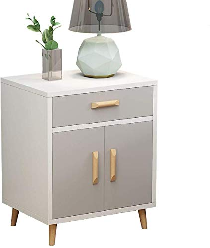 Nordic Double Door Side Table Mid-Century Entrance Bedside Table Chest of Drawers Solid Wood Legs Storage Cabinet Bedroom Nightstand Hyococ (Color : White, Size : 40x36x53cm)