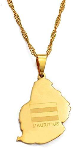 Yiffshunl Collar con Colgante de Bandera de Mauricio, Collar para Mujer, niña, Oro, joyería del país Africano, Regalo, Collar de la Isla de Maura # 025021, Collar de Regalo, Regalo