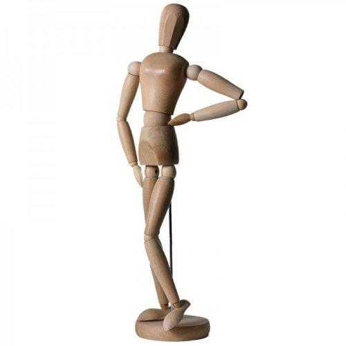 Artina Modelo muñeco articulable Figura Humana Femenina 20 cm - para Pintar - De Madera Maciza Realista y Variable