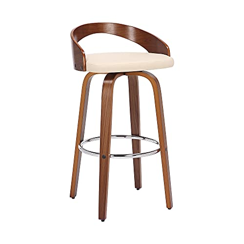 """Sonia 26"""" Swivel Bar Stool in Walnut Wood Finish and Cream Faux Leather Upholstery is $122 (13% off)"""