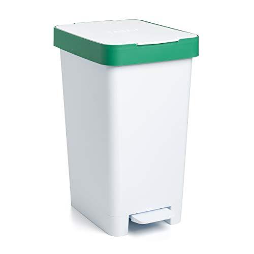 Tatay Cubo de Basura para Reciclaje, Blanco y Verde, Mediano