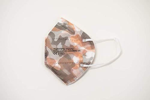 YUNYIFU FFP2 Maske | ISO + CE zertifiziert | Atmungsaktiv | 10 Stück (Military)