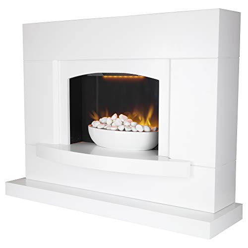 Warmlite WL45046 Oxford Electric Pebble Fireplace Suite, Adjustable Thermostat with Remote Control Operation, LED Flame Effect with Pebble Display, White