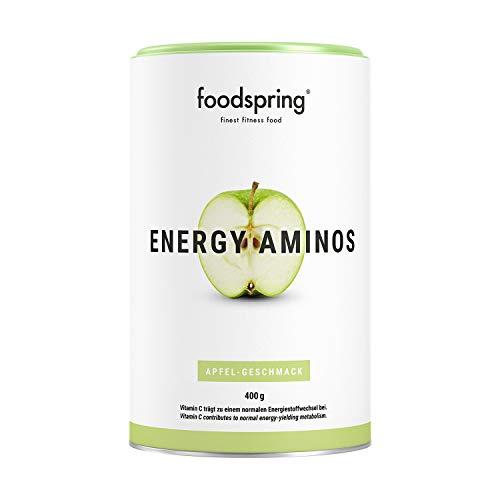 foodspring Energy Aminos, 400g, Sabor Manzana,Bebida pre-entreno con vitaminas C, B3, B12, cafeína, piperina y BCAA veganos
