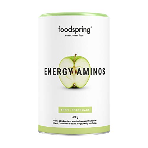 foodspring, Energy Aminos, Apfel, 400g, Pre-Workout-Booster mit Vitamin C, B3, B12, Koffein, Piperin und veganen BCAAs