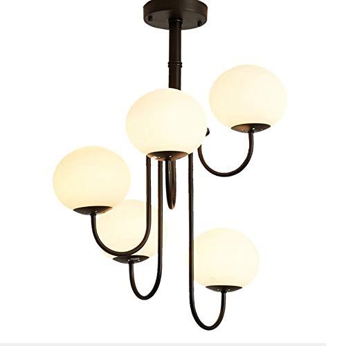 luz de techo LCSD Diámetro De Atenuación Tricolor 55 * 60 Cm Blanco Lámpara De Techo Simple Europea Y Americana Sala De Estar Comedor Lámpara De Araña 5 Bombilla