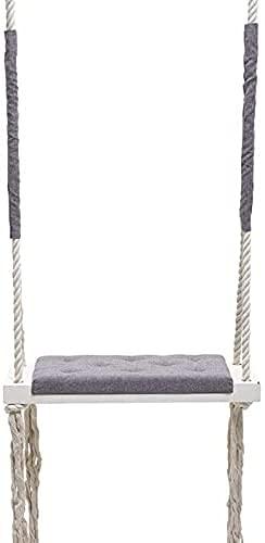 Cakunmik Indoor Baby Swing Seats, Children's Hanging Rocking Chair Nursery Decoration Entertainment Solid Wood Board Sponge Pad Cotton Rope Swing