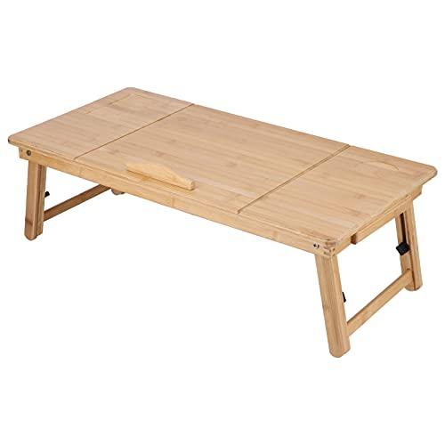FOLOSAFENAR Mesa elevadora Plegable, Exquisita artesanía Mesa de bambú para portátil Mesa Plegable Bambú Leer, estudiar o Trabajar cómodamente en una Cama o sofá