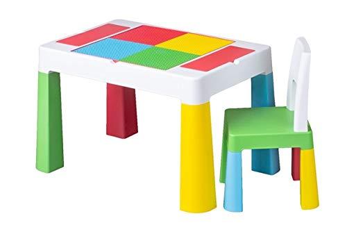 TEGA BABY Table + Chaise Enfant Dessin et Jeu Construction Multicolore