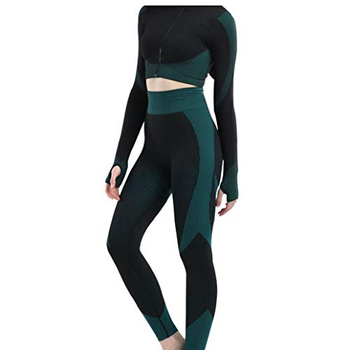 Ohomr 3PCS Donne Yoga Donne Vestito Lungo Cappotto della Maglia Leggings Fitness Tuta Gym Sportswear Che Coprono Insieme (Verde Nerastro, L)