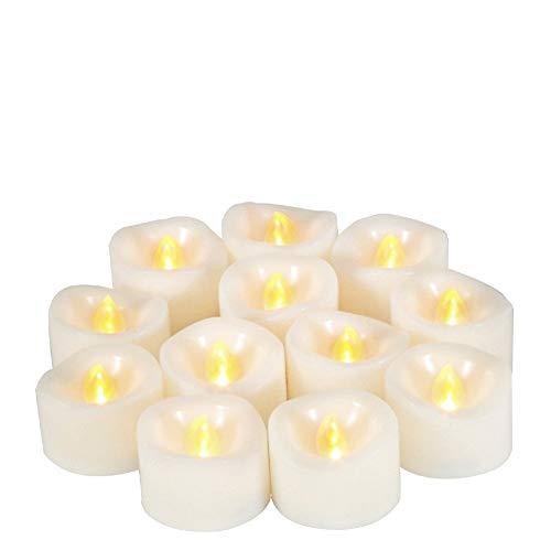 JZK 12 LED Clignotante lumière de Bougie sans Flamme lumière de thé fonctionnant sur Batterie pour décoration de Table de Mariage Saint-Valentin Halloween lumière de Noël