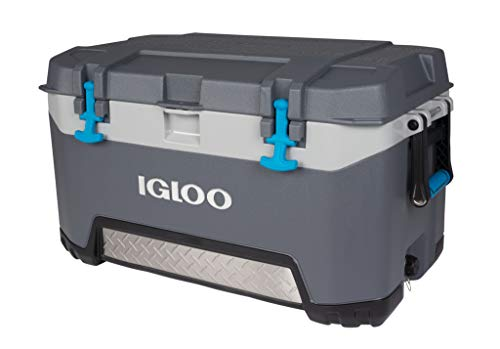 Igloo BMX 72 Quart Cooler with Cool Riser Technology, Fish Ruler, and Tie-Down Points - 18.70 Pounds - Carbonite Gray and Blue