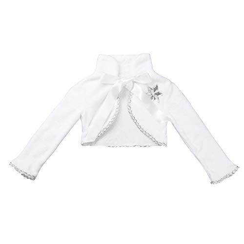 Agoky Chaqueta Capas Elegantes de Princesa para Niña Capas Blanca para Vestido Boda Fiesta Bolero Danza Halloween Cárdigan Abrigo Otoño Bebé Niñas Blanco A 7-8 años
