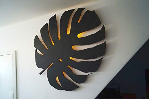 kh Teile Monstera Blatt Wanddeko Pflanze Echt Holz Natur Wandbilder mit LED Beleuchtung, Wandschmuck Wanddeko Wohnzimmer, Schlafzimmer, Esszimmer, Flur, Küche und Bad