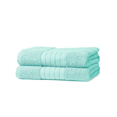 Price comparison product image Brentfords Luxury 100% Cotton 2 x Jumbo Bath Sheets Extra Large Towels Bale-Aqua,  100 Percent,  Full